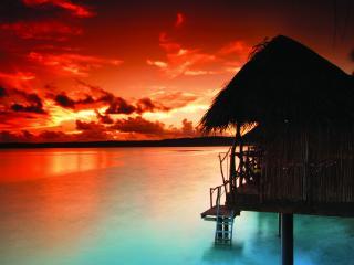 Overwater Bungalow Sunset